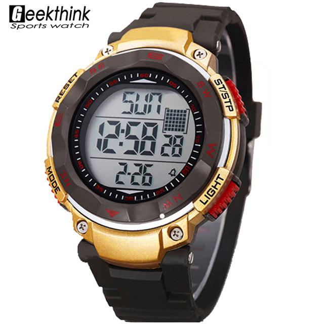 Бренд мужской из светодиодов цифровой спортивные часы класса люкс 5ATM спорт на открытом воздухе мода тенденция из светодиодов наручные часы 2016 Relogio Relojes секундомер погружения