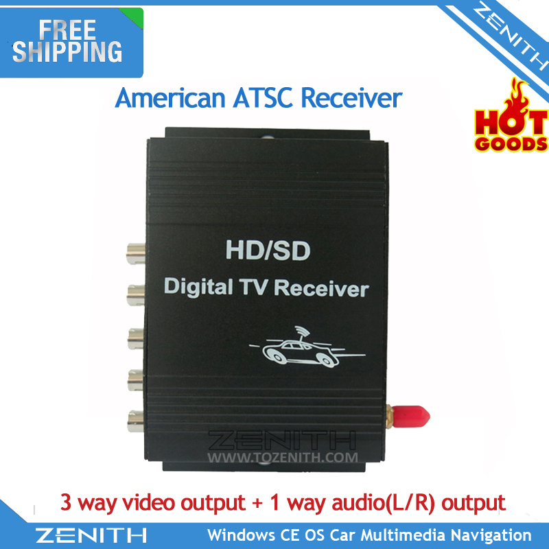 Free shipping Car ATSC MPEG-4 Mobile Digital TV Turner Receiver Box For American
