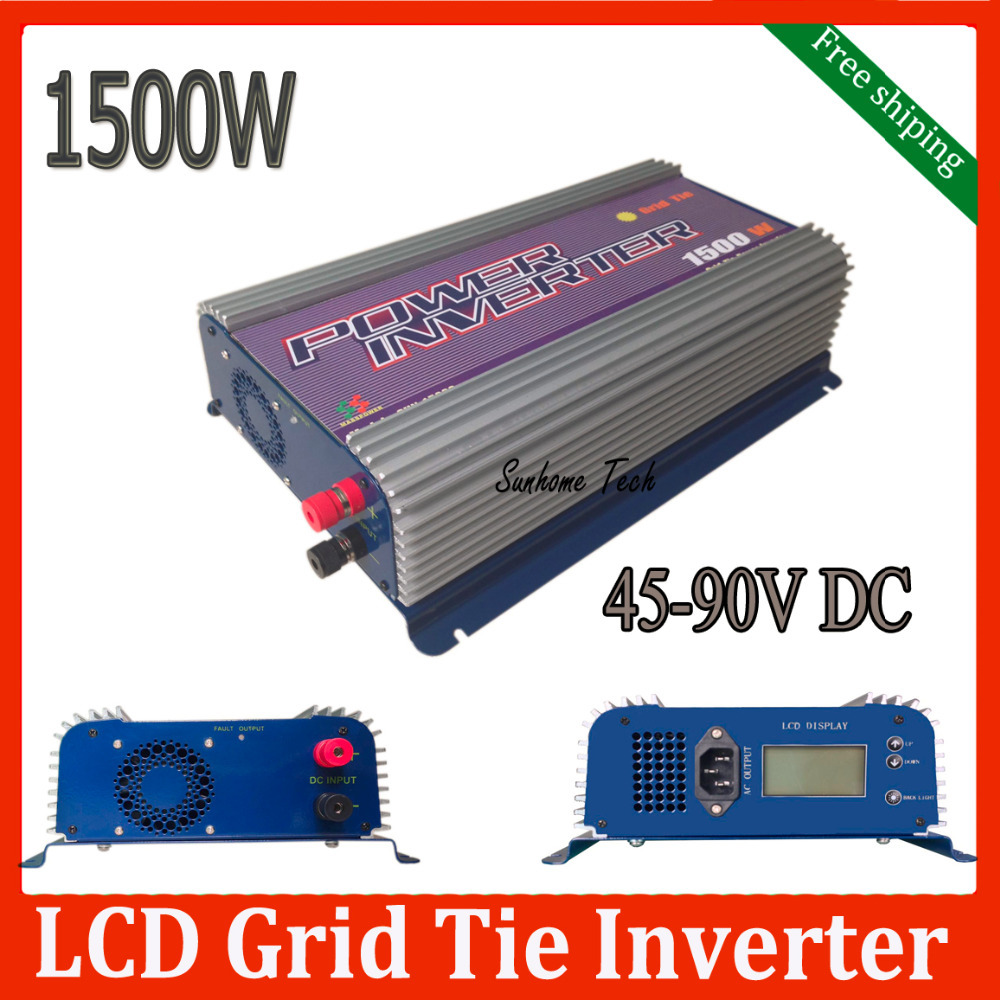 1500W MPPT Grid Tie Solar Inverter 45-90V DC to AC120/230V on Grid solar inverter with LCD display free shipping(China (Mainland))