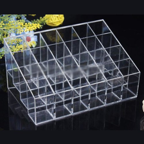 Acrylic Trapezoid Clear Cosmetic Stand 24 Lipstick Organizer Nail Polish Makeup Case Display Rack Holder - global-order accessories store
