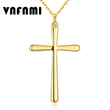Gold Fashion Cross Necklace 18K Real Gold Plated Eco-Friendly Copper Necklaces & Pendants for Women/Men Cross Pendant Necklace(China (Mainland))