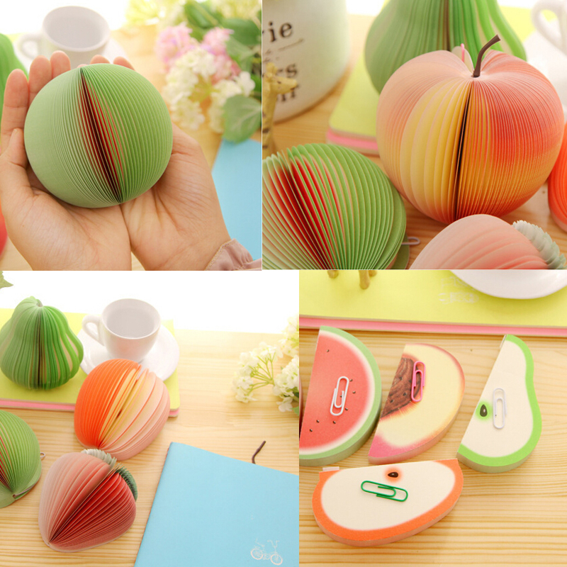 Fruit Shaped Portable Scratch Paper Scrapbooking Notepad Memo Stationary Notes Cute Pad Scratchpad Post Sticky Apple Pear(China (Mainland))
