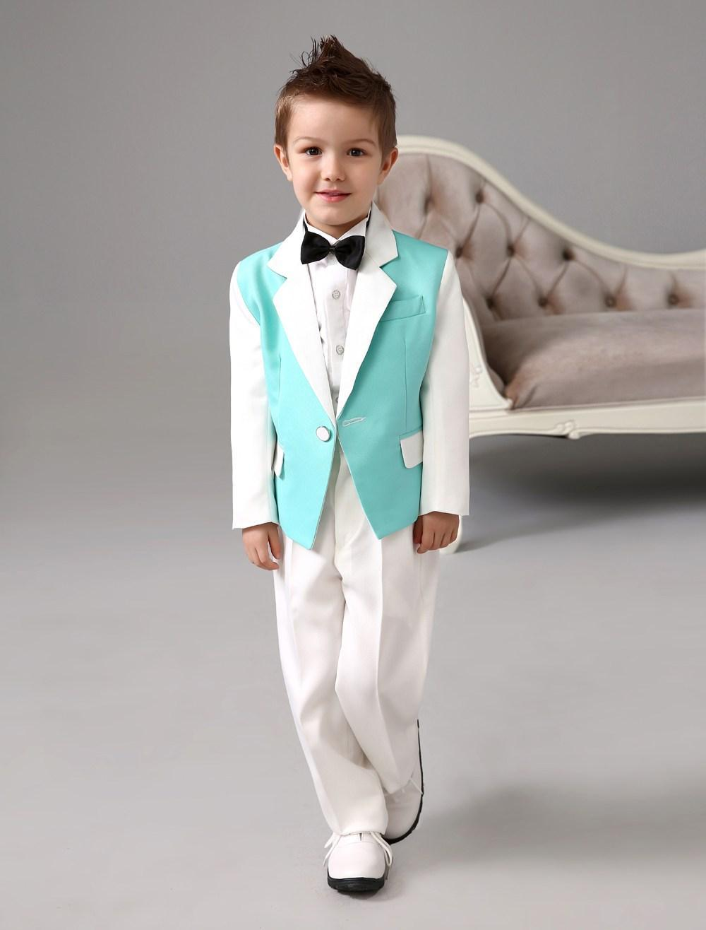 Four Pieces Luxurious green and white Ring Bearer Suits cool Boys Tuxedo With Black Bow Tie kids formal dress boys suits(China (Mainland))