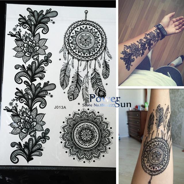 1 ШТ. Горячая Dreamcatcher Большие Индийские Sun Flower Хной Временные Татуировки Черный Менди Перо Стиль Водонепроницаемый Татуировки Наклейки PBJ013A
