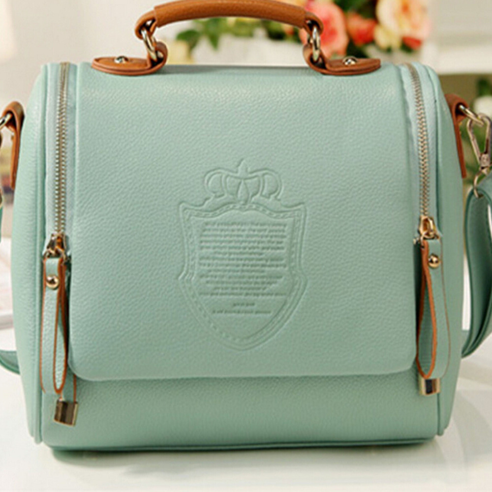 MLK NEW 2015 autumn European and American Style pu Solid  Englon crown Fashion Vintage Women Handbags Shoulder Messenger bag(China (Mainland))