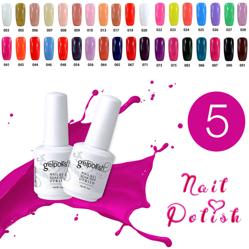 Elite99 Soak UV Nail Gel Polish Varnish Luminous Set Choose 5 Colors Art Base Top - Royal Beauty store