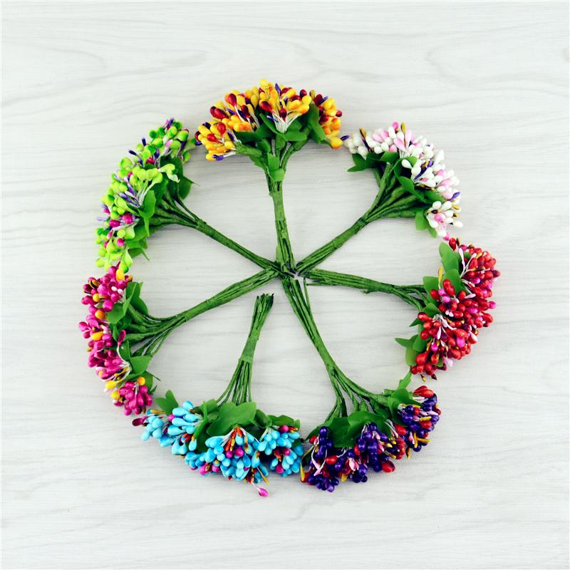 Cheap 10pcs Plastic Artificial Bacca Stamen Flowers Bouquet For Wedding Decoration Scrapbooking Decorative Garland Fake Flowers(China (Mainland))