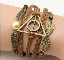 Free Shipping Harry Potter Deathly Hallows Wings Leather Women High Quality Vintage Bracelet(China (Mainland))