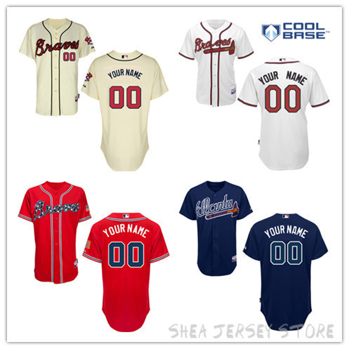 Free Shipping Atlanta Braves Personalized Home Jersey 2015 New Customized Baseball Jersey Top Quality Mix Order(China (Mainland))