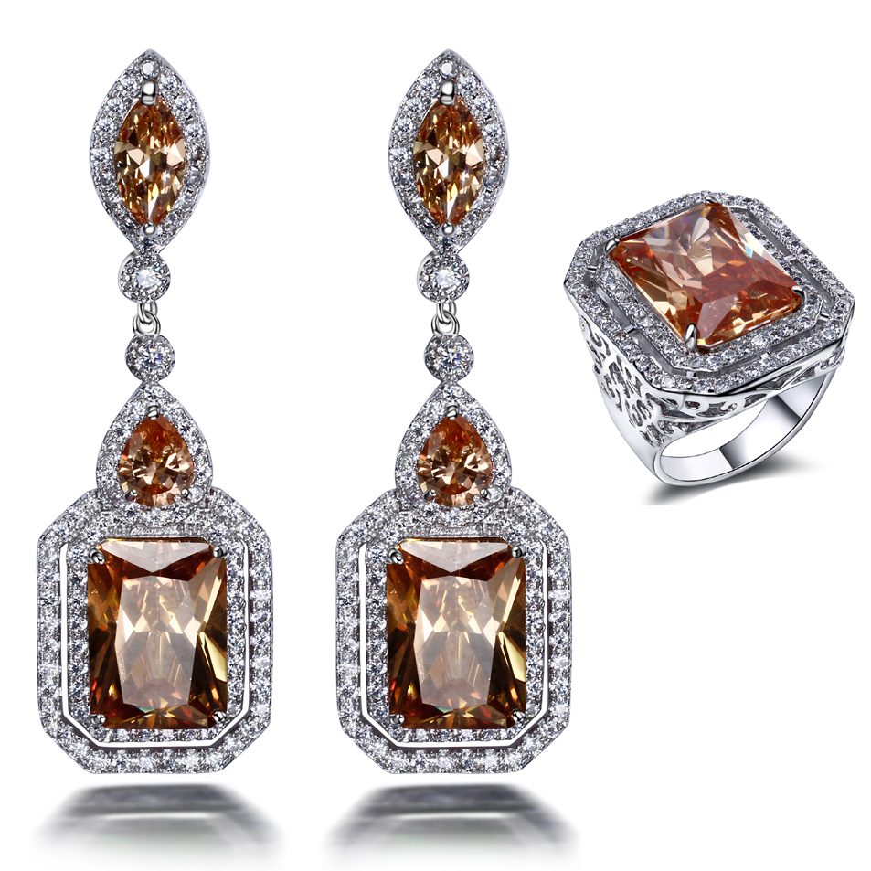 Super Deals Todays Offers Platinum plate jewelry AAA Champagne Cubic zirconia Earrings and ring Jewelry sets(China (Mainland))