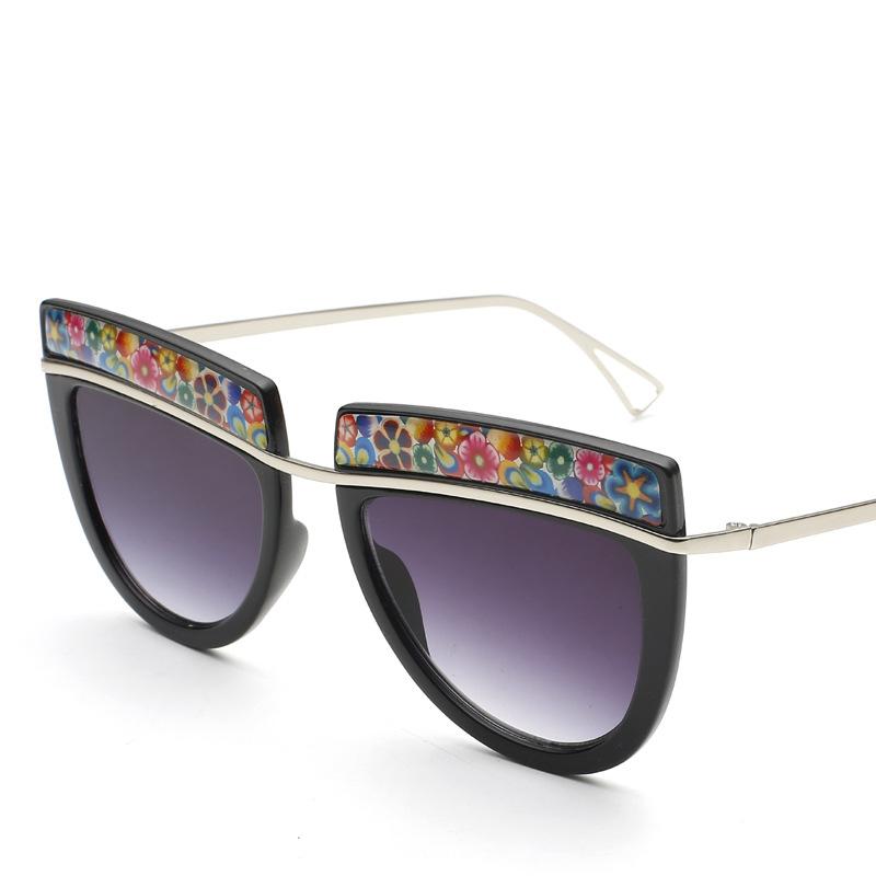 Hot Selling Women's New Style Sunglasses Floral Eyebrow Large Frame Eyewears Anti-UV Retro Eyeglasses occhiali da sole donna(China (Mainland))