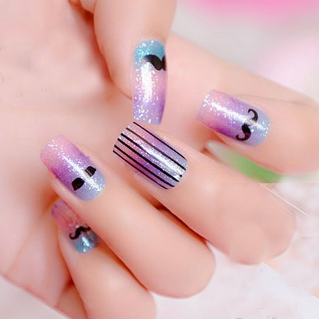 New fashion style glitter french design 12pcs pack beauty for 3d nail decoration