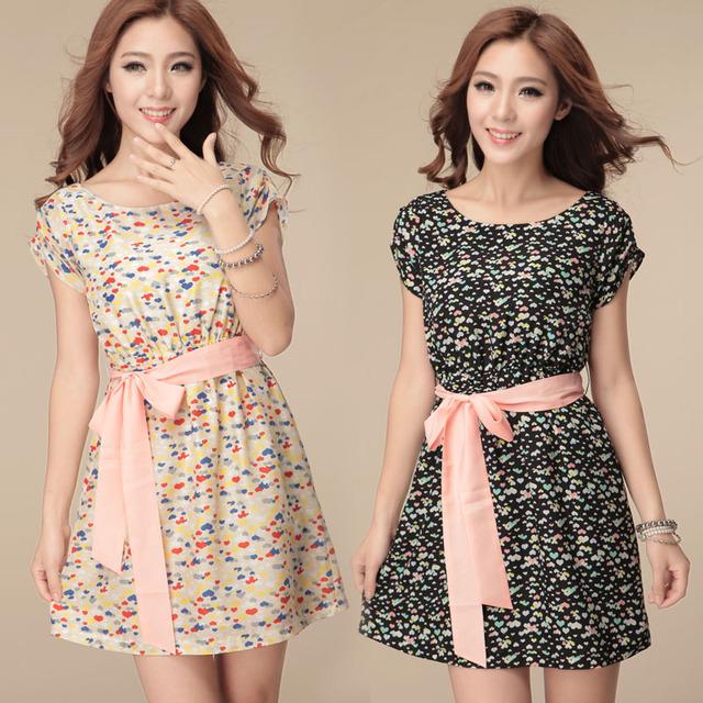 Women's summer plus size elegant short-sleeve mid waist lacing chiffon one-piece dress