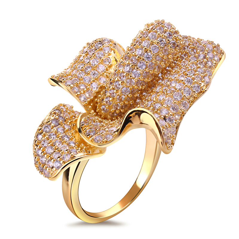 luxury valentine's days gift for girl friend 2014 flower shape women ring 18k gold plated free shipping()