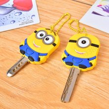 2pcs/Lot 3D Despicable Me 2015 Favor Gift Minion Stitch Key Cover Chain Cap Keyring Hot Sell Toys