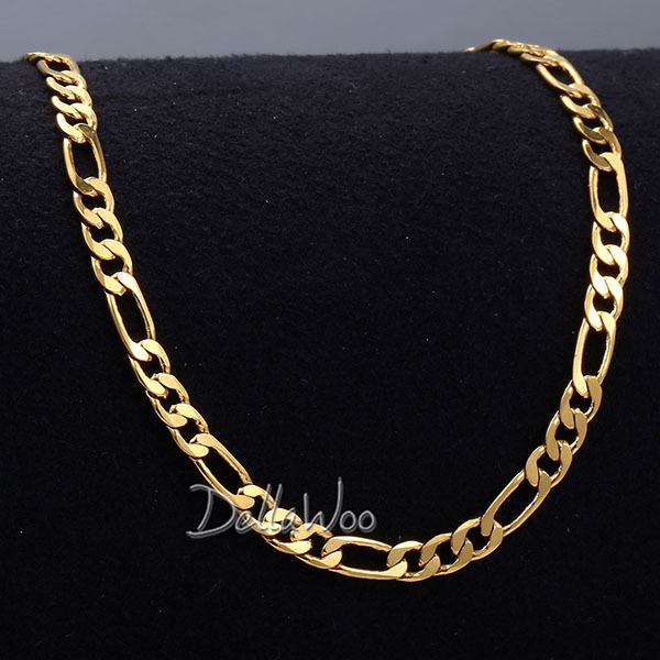 3.5MM Mens Boys Chain Flat CUT FIGARO Necklace Gold Filled Necklace GF Customize size 18-36inch Jewelry DNL126(China (Mainland))