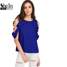 Buy SheIn Cold Shoulder Tops Summer Womens Tops Blue Short Sleeve Button Closure Back Drape Ruffle Cold Shoulder Blouse for $11.97 in AliExpress store