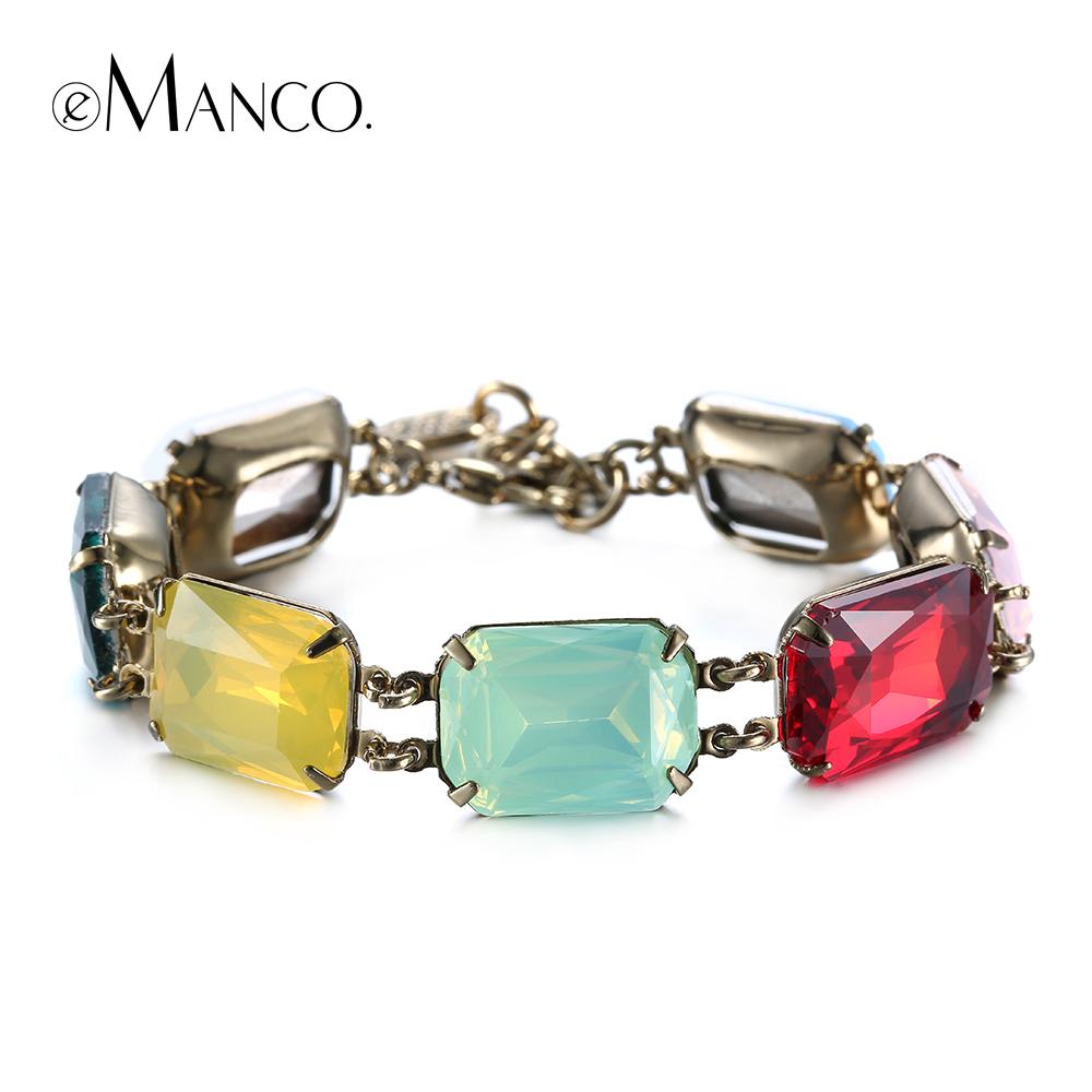emanco brand new 2016 retro fashion Statement retro ruby crystal bangle bracelet female models copper bracelet for women(China (Mainland))