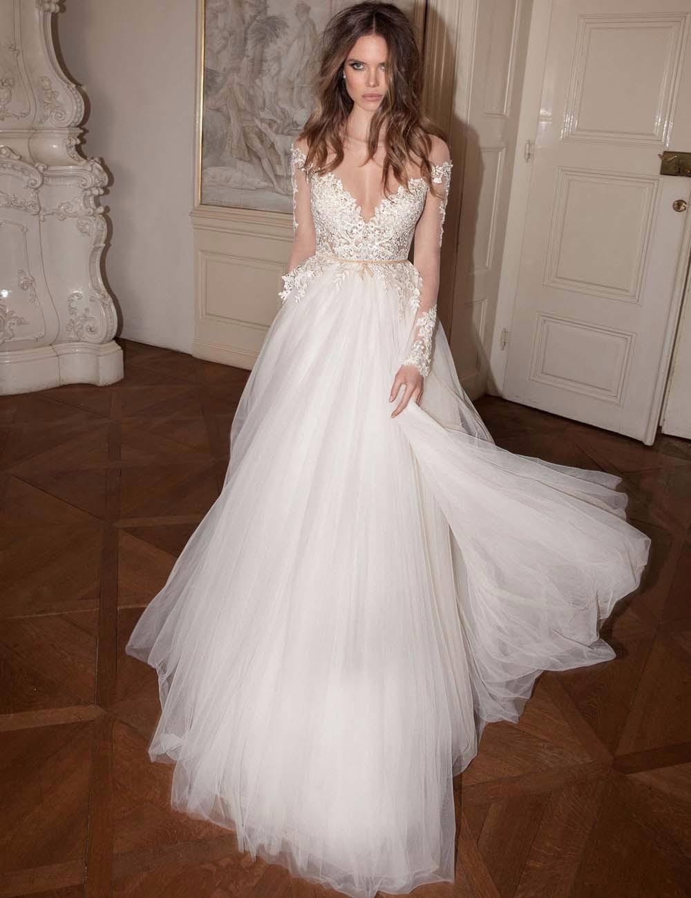 2016 Ball Gown Off Shoulder Long Sleeve Elegant Vestidos De Novia White Lace Wedding Dresses Robe De Mariage Bridal Gown