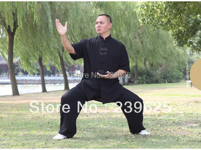 2014 Free Shipping Martial Arts Clothes Cotton Tai Chi Uniform Morning Exercise Sporting Wear Half Sleeves Suit Size L-XXXXL(China (Mainland))
