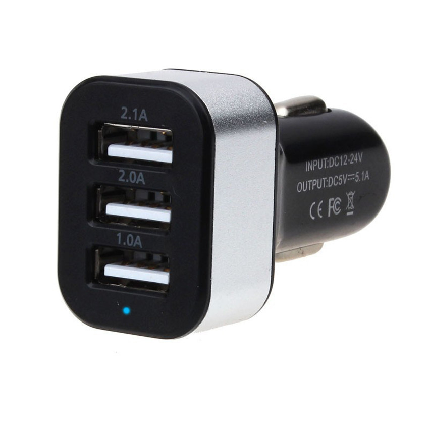 Universal Vehicle 12V-24V 3Port USB 1A,2A,2.1A DC Car Charger USB Power Adapter For mobile phones tablet PC(China (Mainland))