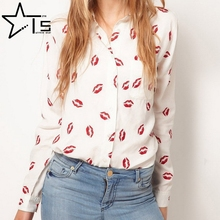 Twinkle Star Stand Collar Red Lip Print White Chiffon Blouse Free Shipping Lady Shirt 2016 Fashion Long Sleeve Women Blouse