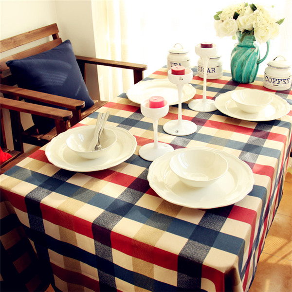 Red Plaid Tablecloths 100% Cotton Handmade Manteles Para Mesa 2015 Mediterranean Cotton Tablecloths Yellow Red Plaid Tablecloths(China (Mainland))