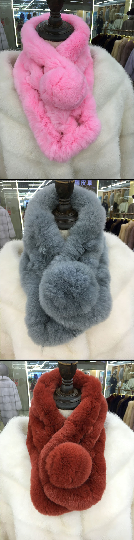 Real Rabbit Fur 2016 Women Winter Real Fur Scarves Lady Casual Fur Scarves Genuine Fur Ball Velvet Rabbit Echarpe Luxury