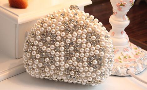 Women Pearl Clutch Evening Bag Shell-Shaped Beaded Purses Handbags Rhinestone Embellished Mini Bags Chains Sac - Fashion Style Shoes Store store