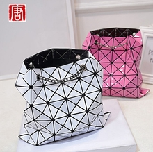 New Fashion 2016 Women's TOTES Issey miyake Bags Hologram Laser Geometric Handbags Multicolor