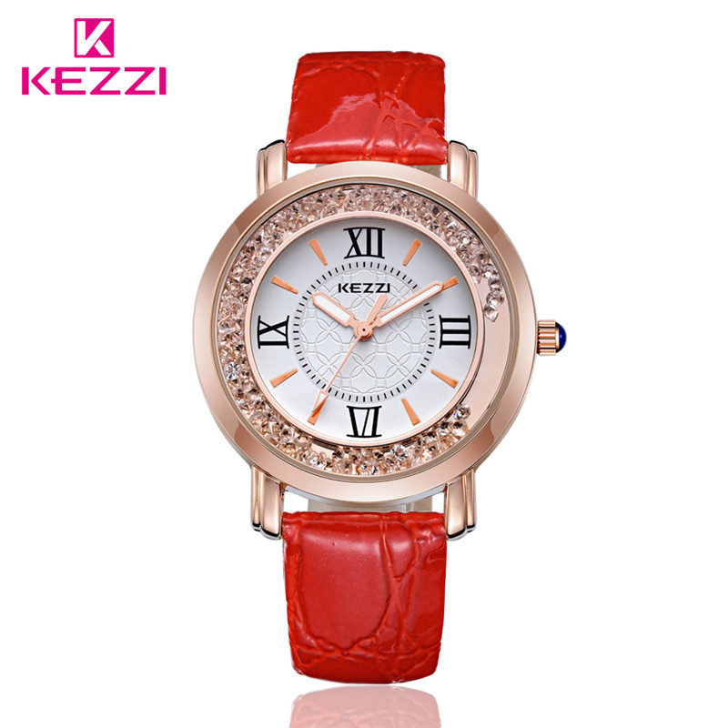 KEZZI Women Watches K747 Quartz Dress Leather Strap Wristwatches Christmas Gift  Rosegold Quicksand drill watch 2014 new<br><br>Aliexpress