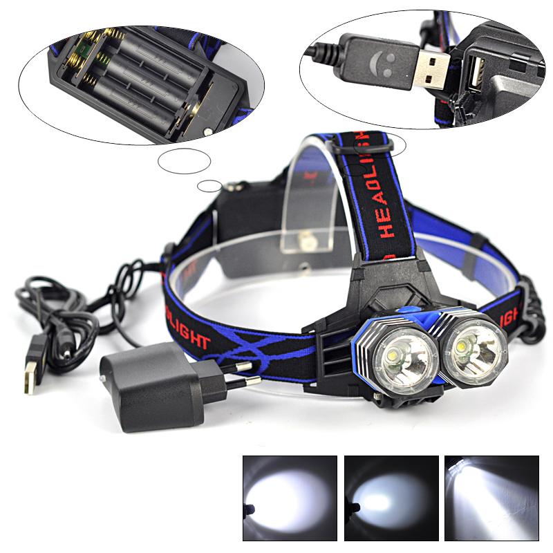 5000 Lumen 2x XM-L XML T6 LED Head Flashlight 18650/AAA/AA Headlamp Lantern Head Lamp Flash Light+Charger+Usb Cable For Camping<br><br>Aliexpress