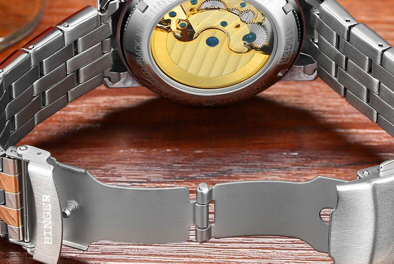 Высочайшее качество Бингер Роскошный Box Сапфир Черный Циферблат Золотой Корпус Из Нержавеющей Стали Автоматическая Мужчины Смотреть Полый Розового Золота Наручные Часы