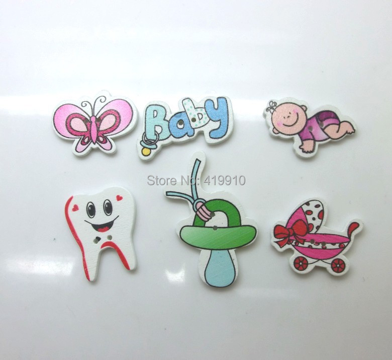 -6Mixed 2 Holes Pattern Cartoon Wood Sewing Buttons Scrapbooking D2316 - Lovely store