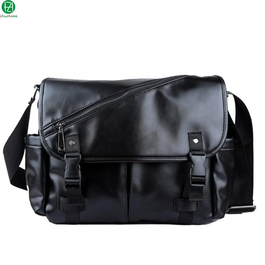 "casual leather men messenger bags vintage large capacity 14"" men shoulder duffel bags black cover crossbody Laptop travel bags"