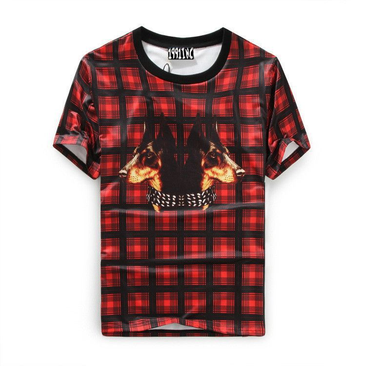 summer style 2015 new Europe tide tees Red plaid double Doberman dog head print men / women fashion cotton Short sleeve t-shirt(China (Mainland))