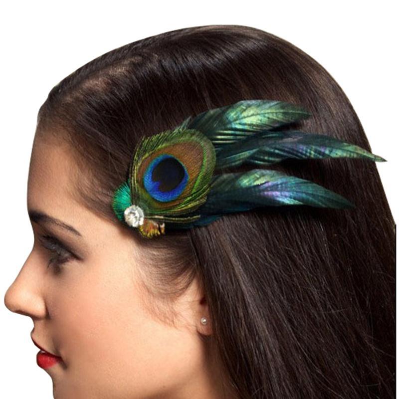 New Girls Headwear Peacock Feather Hair Accessories Hair Clip Pin for Kids Ladies Headband Baby Heawear(China (Mainland))