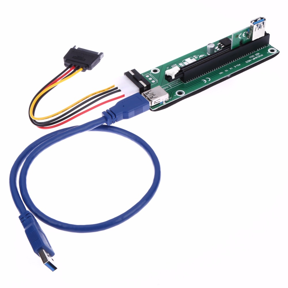 50 cm USB 3.0 PCI-E Express 1x 16x Extender Riser Card Sata 15 Pin Adapter SATA Power Cable L3FE