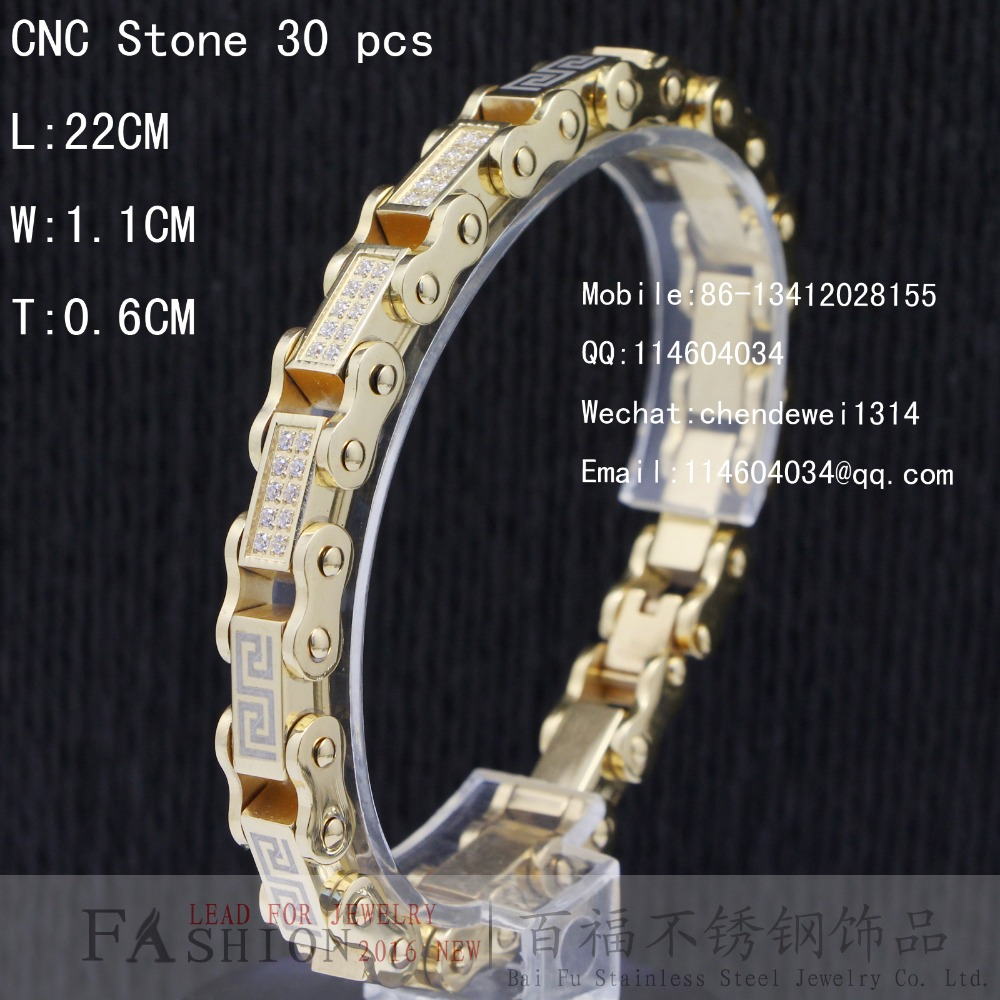 Baifu Jewelry Stainless Steel Personality CNC CZ Stone Men 14K Yellow Gold Bicycle chain Bracelet Male Bangles(China (Mainland))