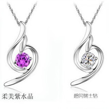 Gently beautiful angel  Han edition of South Korea 925  Silver natural purple crystal pendant