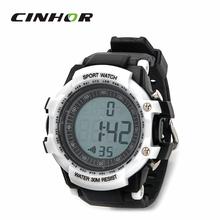 Reloj Digital del deporte para hombre Monitor de ritmo cardíaco reloj exterior Running escalada w / cinturón de pecho elástica – blanco + negro