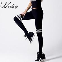 Buy Weekeep Brand High Waist Slim Fitness Leggings Women Black Letter Print Workout Legging Sporting Adventure Time Fashion Legins for $9.67 in AliExpress store