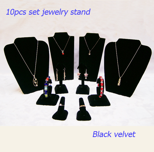 Black velvet Jewelry Display Box Necklace Holder Earring Stand Rack with Ring Finger Small Kit Decoration Show Case Foldable