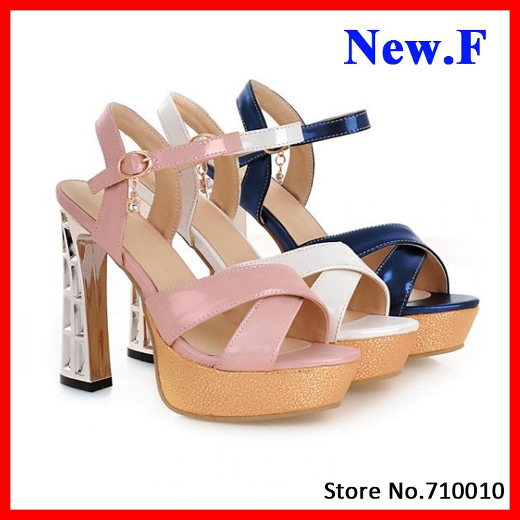 New Arrivals 2015 Women Sandals Fashion Gladiator Ankle Straps High Heels Open Toe Platform Party Wedding Summer Shoes<br><br>Aliexpress