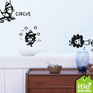 """itie love stickers """" Circus switch stickers """" living room bedroom books cabinet casual stickers wall stickers(China (Mainland))"""