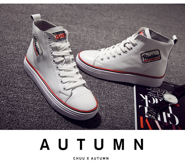 High Quality Leather Fashion Women Casual Shoes Height Increasing autumn Flats woman shoes Lace-Up High Top Shoes