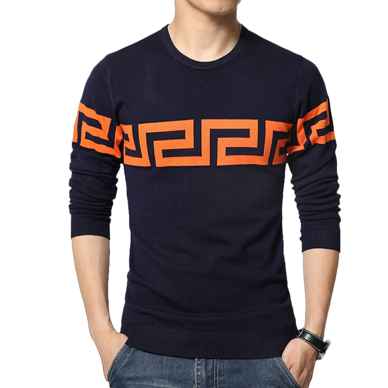 Sweater men casual sweaters mens o neck knit warm pullover for Mens sweater collared shirt