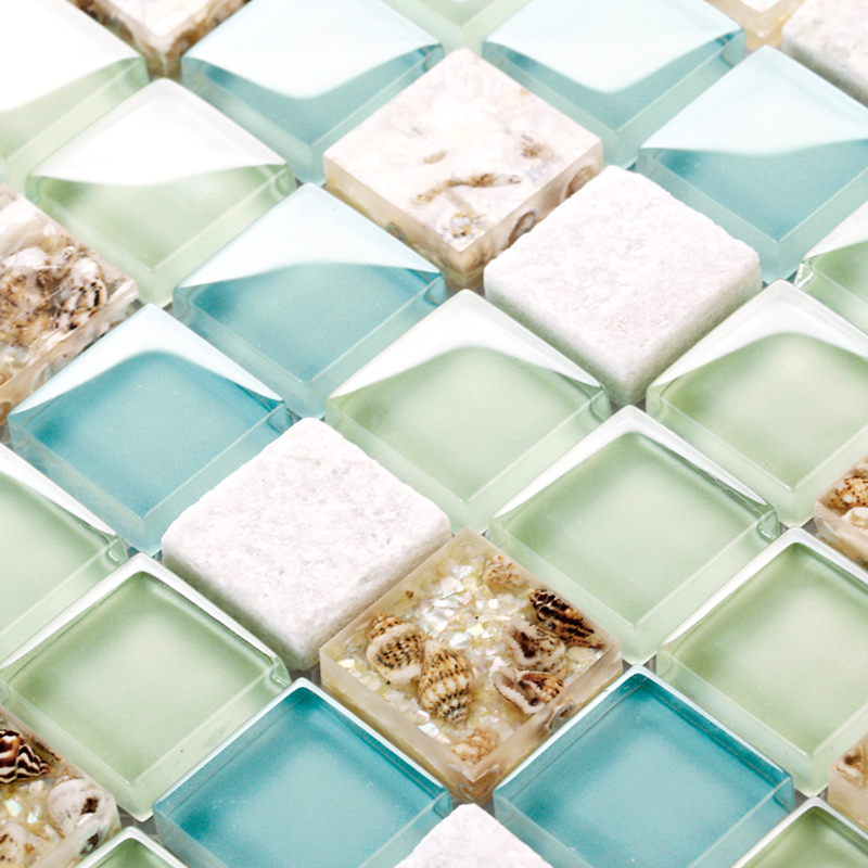 Turquoise Blue White Beach Theme Kitchen: Blue Color Crystal Glass Mixed Sea Shell Mosaic HMGM1148