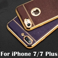 Litchi grain luxury Plating TPU silicone mobile phone case For iphone 7 6 6s plus 5