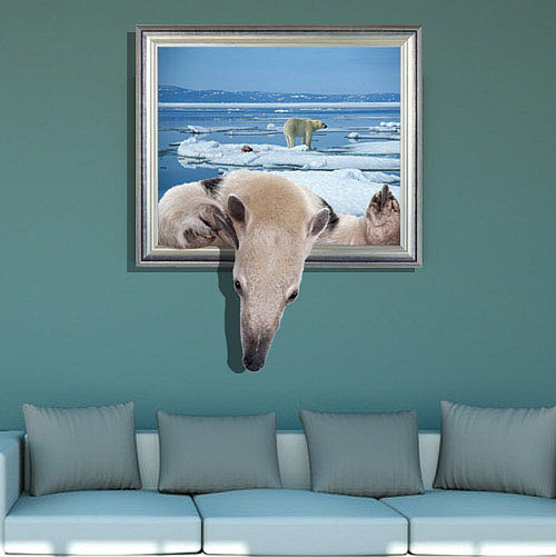 Wall stickers home decor 3D Polar bear Special effect Wallpaper Decal for kids room Living room bedroom Wall Decoration sticker(China (Mainland))